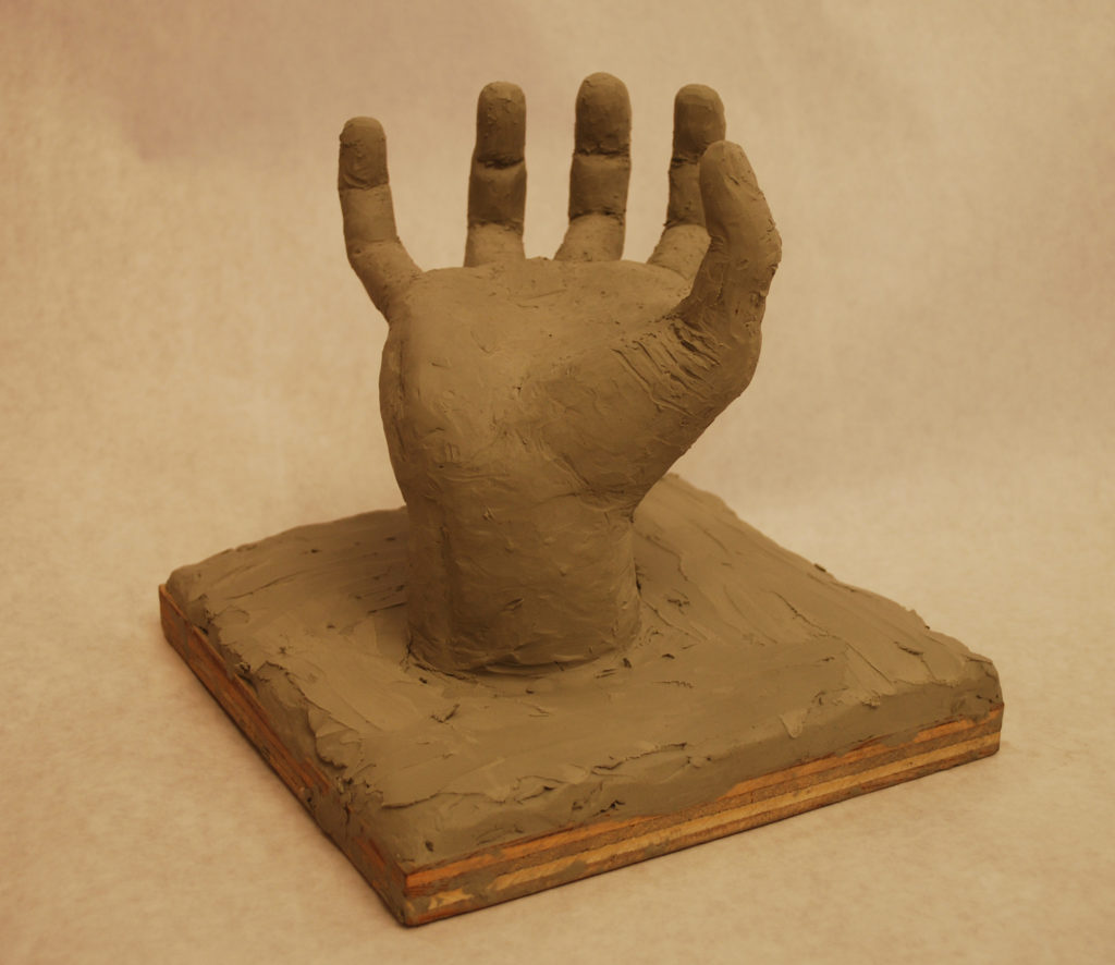 Oil Clay sculpture of hand