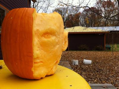 Pumpkin carving sculpture face